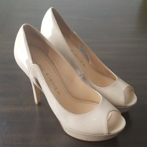 Marc Fisher || Nude Patent Platform Peep Toe Pumps